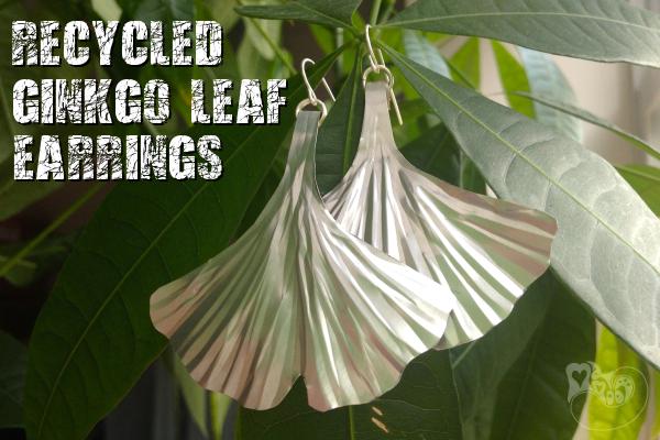 Recycled Ginkgo Leaf Earrings