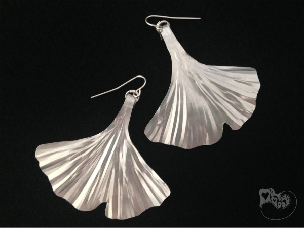 Recycled Ginkgo Leaf Earrings
